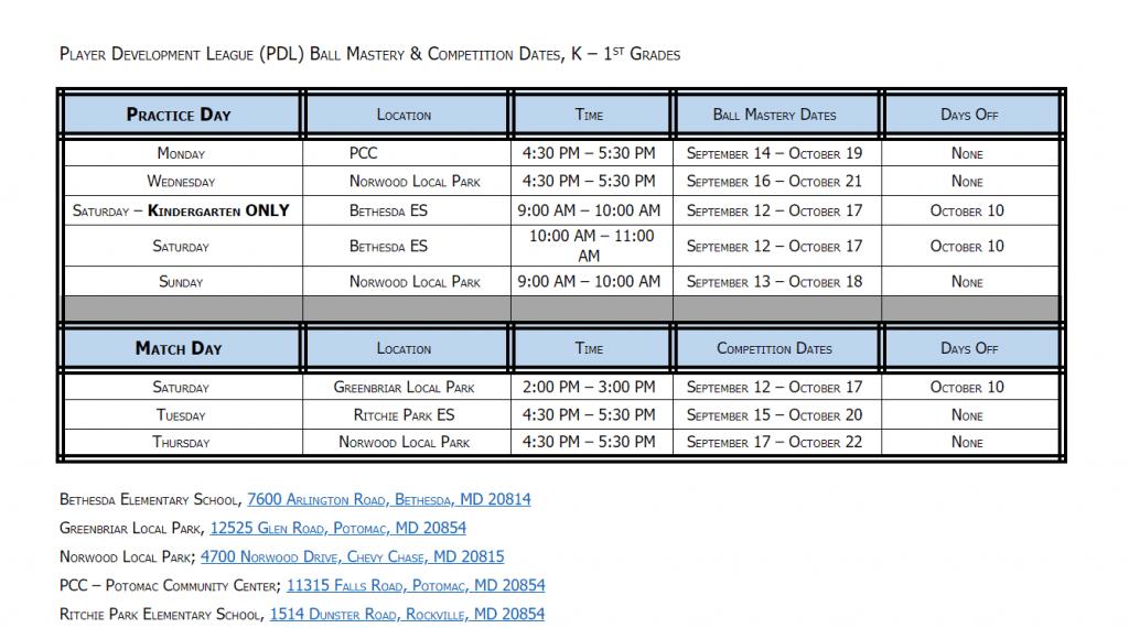 PDL fall schedule K-1