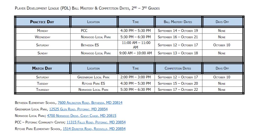 PDL fall schedule Grade 2 & 3
